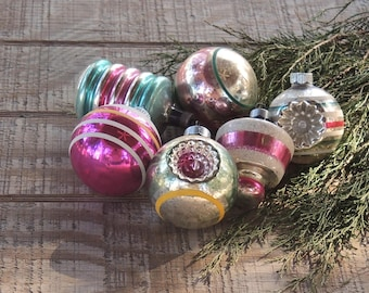Vintage Pink Assorted Ornaments Set of 6 Holiday Decor Tree Trimming Mercury Glass