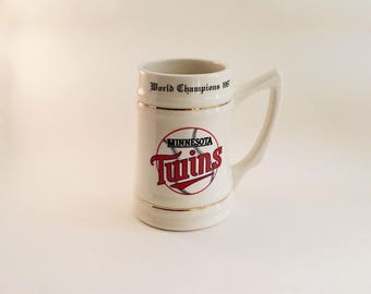 Minnesota Twins World Series Championship Beer Stein Mug 1987 Vintage Commemorative Collectible
