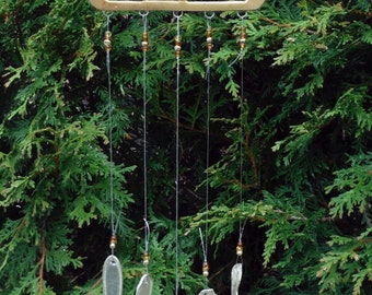 Brass Teapot Trivet Up Cycled into Wind Chime with Vingate Silver Plate Chimes