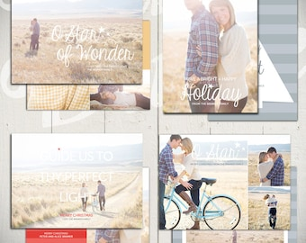 Christmas Card Templates: Shine Bright - Set of Four 5x7 Holiday Card Templates for Photographers