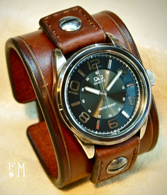 Leather cuff Watch Vintage Brown bridle leather wristband watchband, wrist watch made for YOU in USA by Freddie Matara