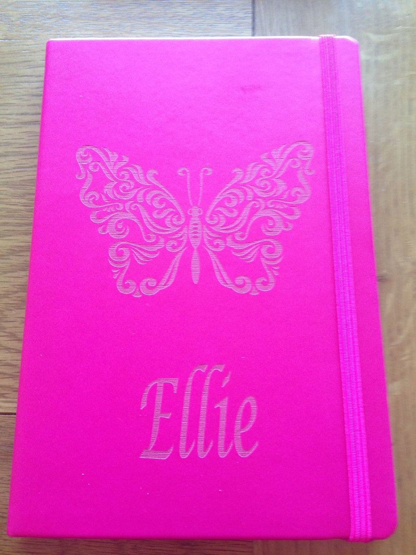 Lovely A5 laser engraved hot pink notebook