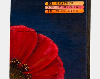 Poppy Flower Acrylic Painting on wood 9 in x 9 in
