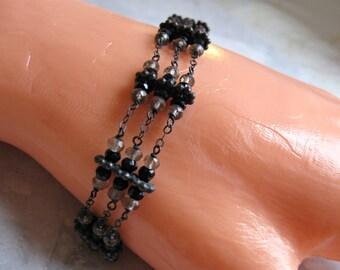 3 Strand Bracelet- Onyx, Smoky Quartz, Oxidized Silver