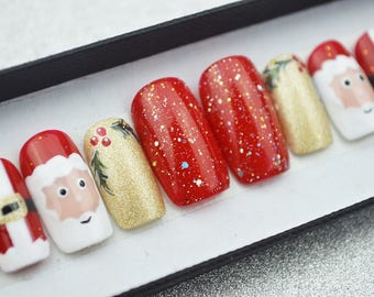 Christmas Santa nails LUXURY PRESS ON, freehanded, press on nails, glue on, handpainted nails, stiletto nails