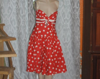 Vintage red and white polka dot Victor Costa Dress Wing Bust 10 M
