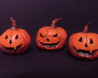 Small Jack-O-Lantern Figurines. Set of 3 ~ Made to Order