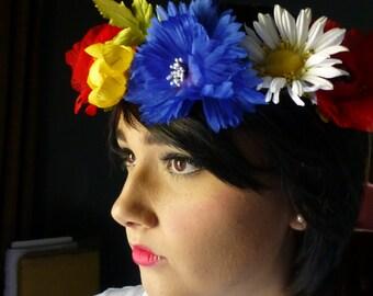 Flower Garland Vintage Japanese for Weddings, Ukrainian Folk Costumes MF 271