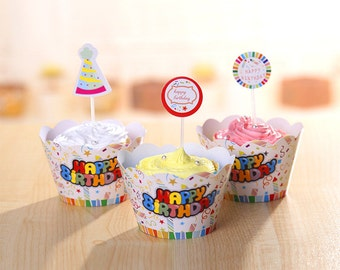 Happy Birthday Unisex Cupcake Wrappers and Cake Toppers Picks Birthday Party Decorations (Set of 12)