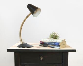 Vintage Adjustable Gooseneck Lamp | Black and Gold | Modern, Industrial Decor Office & Desk | Black Table Light