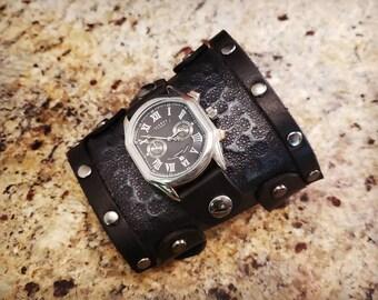 Industrial Watch - Leather Gauntlet Watch - Steampunk Watch - Leather Cuff Watch - Handmade by American Made Upgrades