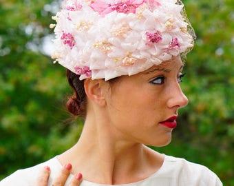 Vintage Floral Pillbox Hat, 1950s Floral Hat, Vintage Millinery,  Vintage Hat, Pillbox Hat, Cloche Hat, Flower Hat, Pillbox Hat with Flower