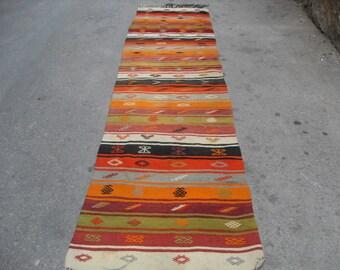 kilim runner rug runner free shipping VINTAGE TURKİSH antalya kilim Anatolian handwoven decorative rug  SİZE : 32'' X 136'' (80 cm X 340 cm)