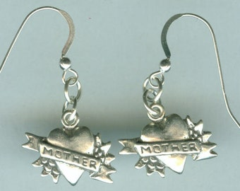 Sterling Silver MOTHER Earrings