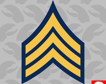 Army Rank Sergeant Sticker Self Adhesive Vinyl insignia emblem SGT - C303