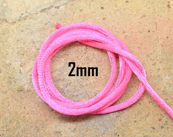 1 meter pink nylon 2mm Rattail Cord macrame silk thread