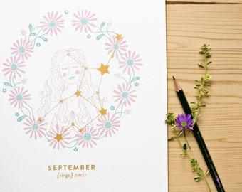 Virgo Constellation Print with gold details