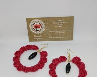 Red flower crochet hoop earrings, Gifts under 20