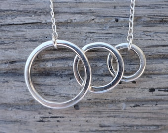 Three Ring Sterling Silver Necklace - Sterling Silver Chain - Sterling Silver Pendant - Silver Jewellery - Handmade Sterling Silver Necklace