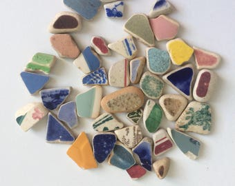 40 pieces of small mosaic sea pottery