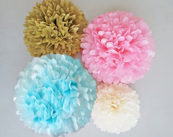 Pink, Light Blue  & Gold Tissue Paper Pom Poms, 4 Piece Set, Baby Shower Decorations, Gender Reveal Decorations, Nursery Decor, Party Decor
