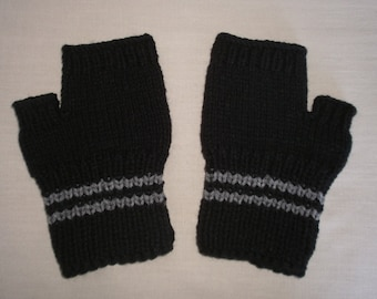 Hand knit Fingerless Gloves - Black & Grey