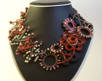 SALE 10% OFF--Fire Powered Plumbing Beaded Washer Necklace