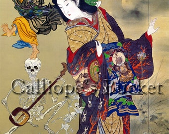 """The Hell Courtesan and Ikkyu (地獄太夫と一休), watercolor on silk. (all artworks are sold without the """"Calliope's Bucket"""" stamp)"""