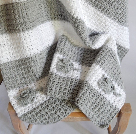 As Seen On Tv Crocheted White And Grey Blanket With Elephant