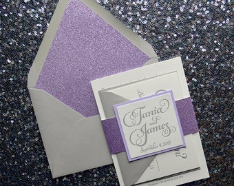 Lavender Glitter & Gray Letterpress Wedding Invitation, Lavender Glitter Wedding Invite, Gray Invitation - Sample Set