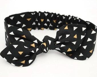 Baby girl headband, topknot baby, baby turban, baby bows, cotton knotted headband, toddler headband, baby headband, black and gold triangles