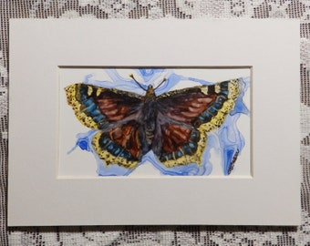 Butterfly Art, Mourning Cloak, insect art, butterfly painting, original watercolor on Yupo