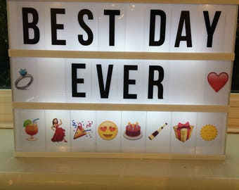 A4 CINEMATIC LIGHTBOX- with black letters and emoji set