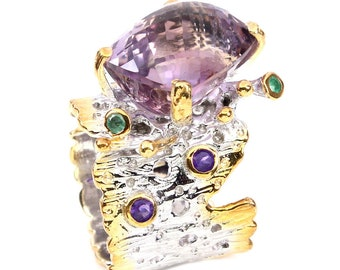 Destash Studio cheap: sumptuous fine jewelry ring 19ct Emerald T62 Silver 925 18 ct gold bi-color Ametrine gemstones