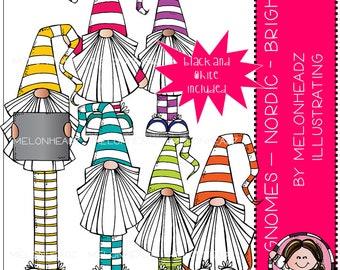 Gnomes clip art - Nordic - Bright - Mini