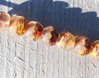 Lampwork BORO glass beads (7), borosilicate glass beads, handmade borosilicate lampwork glass beads, honey amber, beige, borosilicate SRA