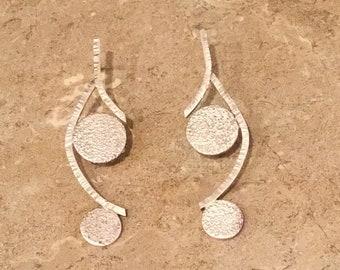 Handmade Sterling Silver Textured Curved Vine Earrings