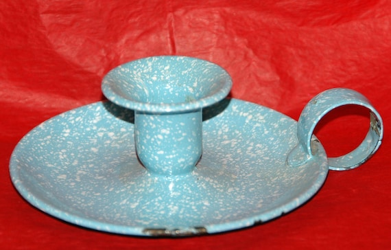 "Reduced: Vintage BLUE Speckle ENAMELWARE (Graniteware) CANDLE Holder W/ White Speckle, 5"" x 1 3/4"" T + Handle In 'as found' Condition,"