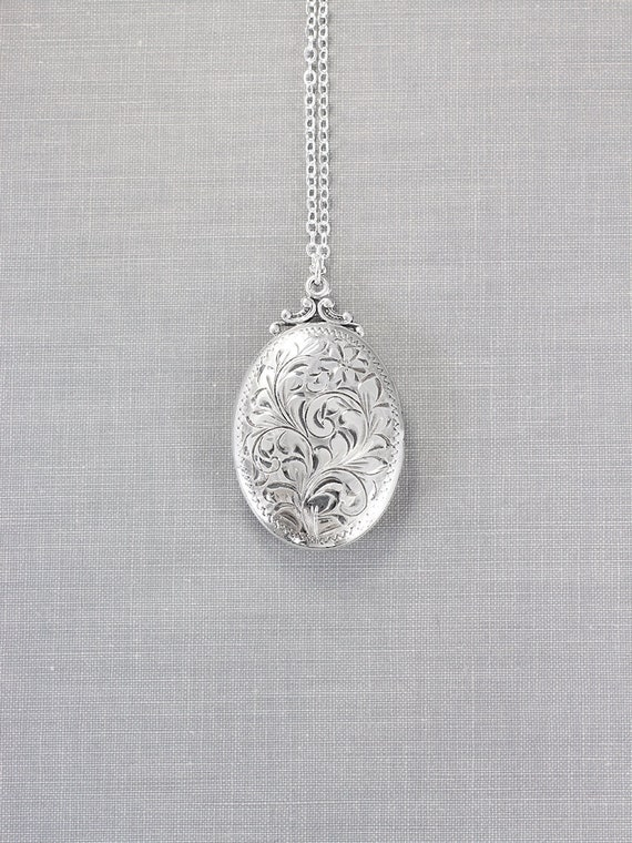 Birks Sterling Silver Locket Necklace, Classic Oval Vintage Photo Pendant - Cherishing Family