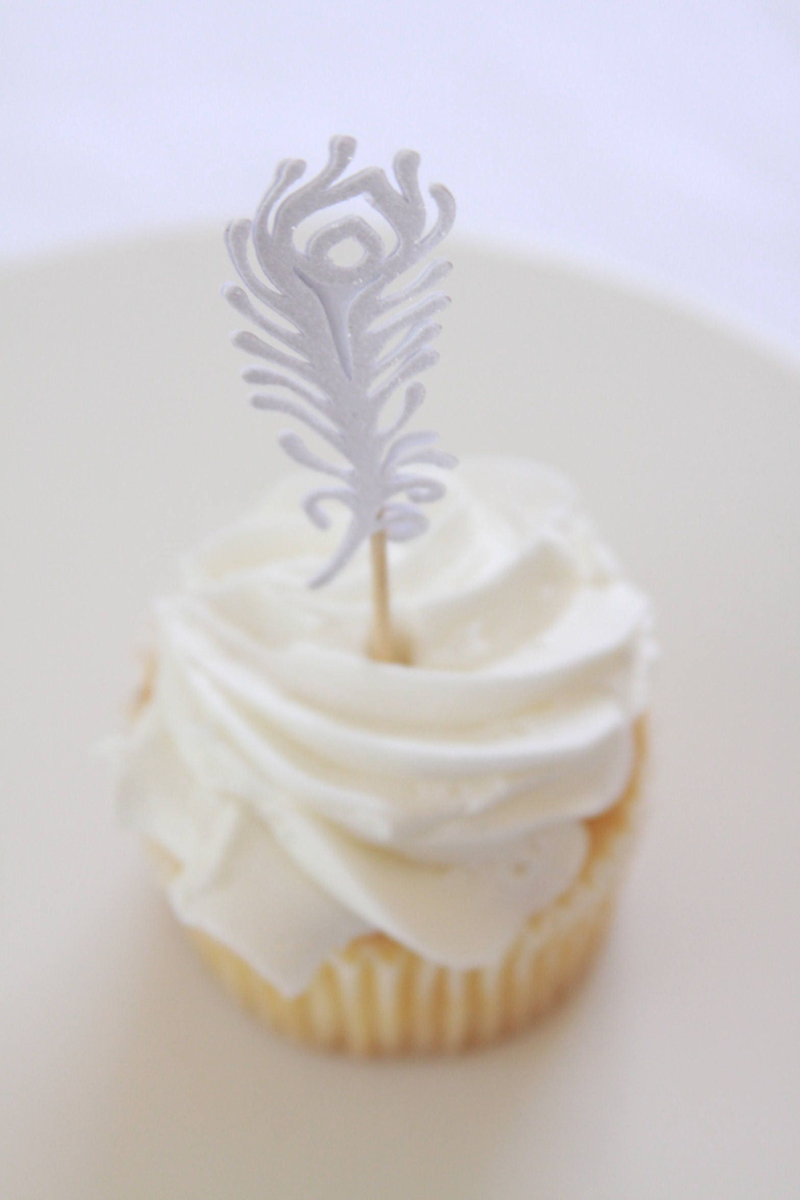 Gatsby Bridal Shower, Feather Topper, Boho Cupcake Toppers, White ...