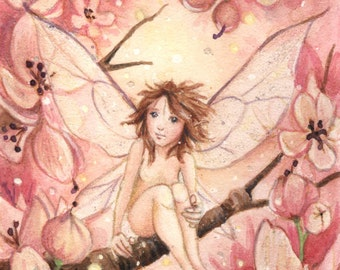 Pink Blossom Pixie - embellished limited edition ACEO print 3.5 x 2.5 inches - flower fairy , fantasy illustration