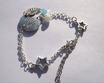 designer jewelry, bracelet silver double star, live your dream, glass bead, leaf