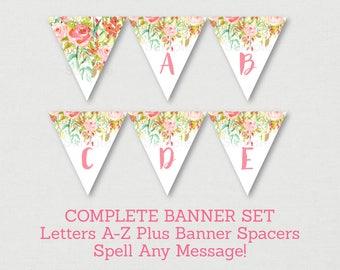 Floral Bridal Shower Banner / Floral Bridal Shower / Watercolor Floral / Pink Floral / Miss To MRS / Letters A-Z /  INSTANT DOWNLOAD B104