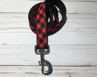5 foot long Dog Leash in red and black check to match Lumberjack Bow tie collar
