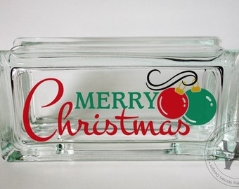 Vinyl Lettering Glass Block Decal Merry Christmas