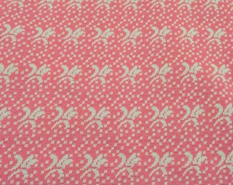 Vintage fabric // vintage polyster fabric // retro fabric // pink and white vintage polyester fabric
