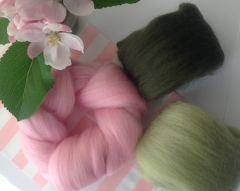 Needle felting wool, wool fibre, 25 grams, 3 Colours, Soft & fine Merino, wool tops,