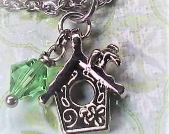 Stainless steel bird house charm bracelet