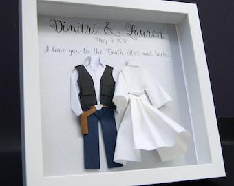 Personalized Wedding Anniversary Gift, Star Wars Theme, Hans Solo Princess Leia Paper Origami Bride & Groom Shadowbox Frame Wall Art Gift