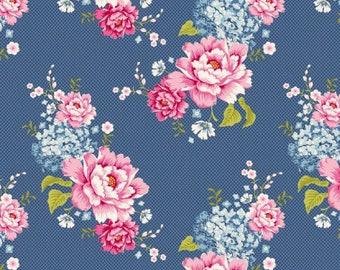 Fabric, coupon, TILDA, 480268 flowerpatch BLUE 50/35 cm, patchwork, clothing